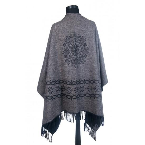 Дамски двулицев шал тип пончо сив
