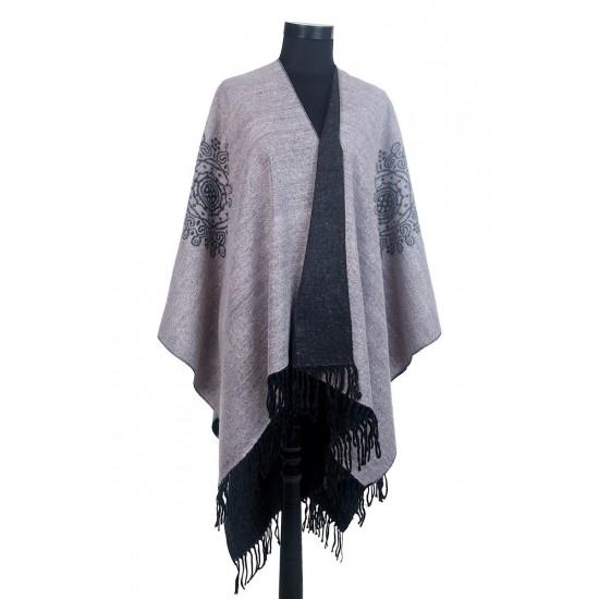 Дамски двулицев зимен шал тип светъл