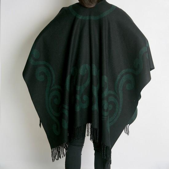 Дамски двулицев зимен шал тип пончо