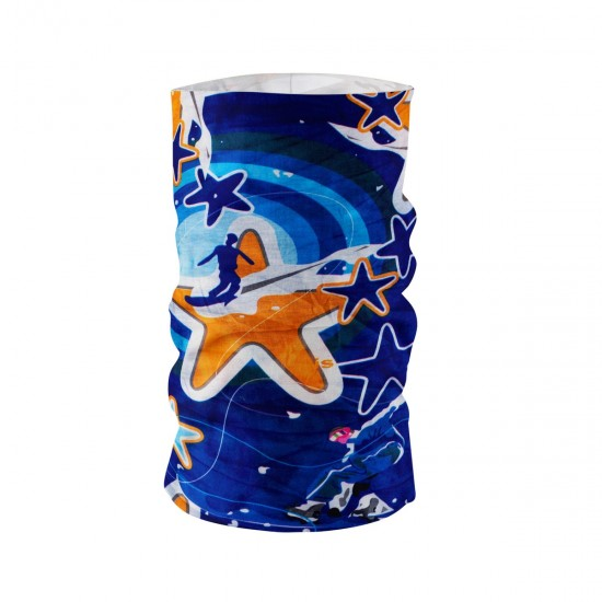 Многофункционална кърпа за лице шарена оранжеви и сини звезди