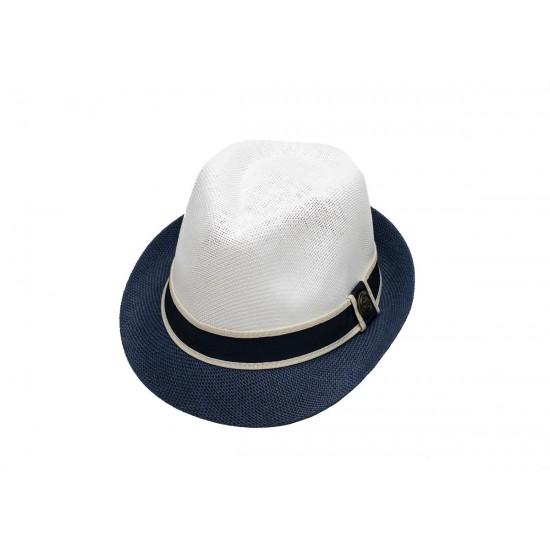 Мъжко бомбе в бяло и синьо с лента синьо и кремаво
