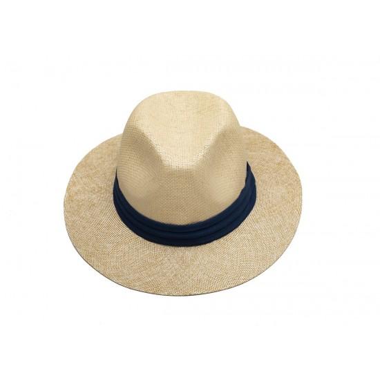 Мъжка шапка в бежово със синя лента