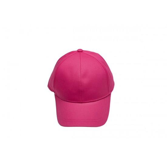 Детска шапка с козирка в цикламен цвят