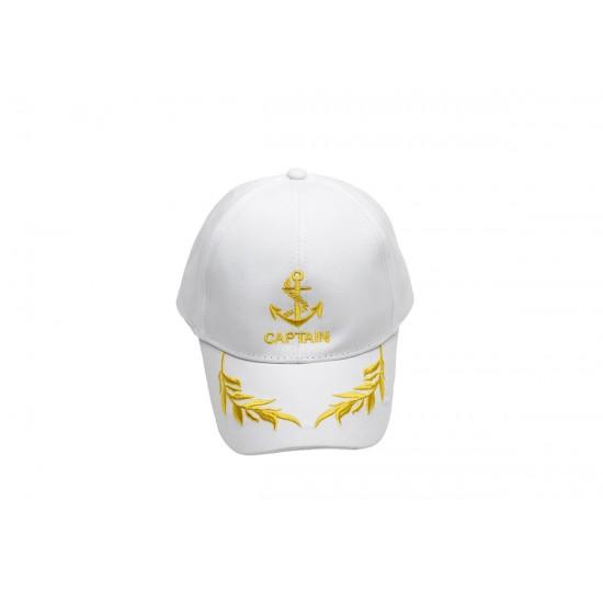 Детска бяла капитанска шапка с козирка