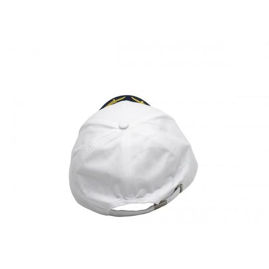 Детска бяла капитанска шапка със синя козирка