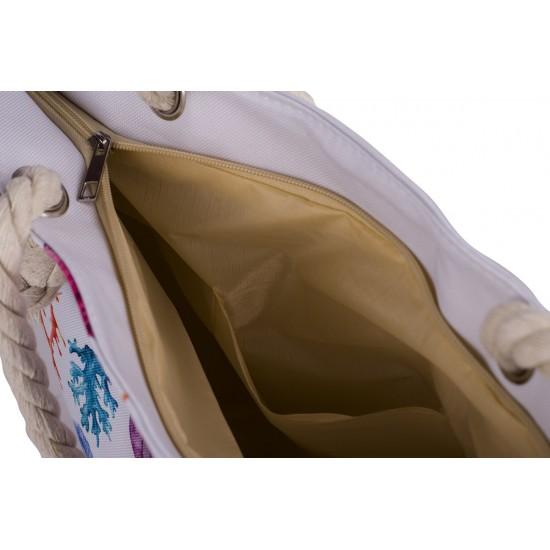 Бяла плажна чанта с цип с морски елементи