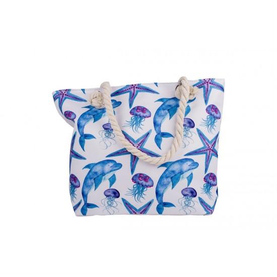 Бяла плажна чанта с цип с делфини