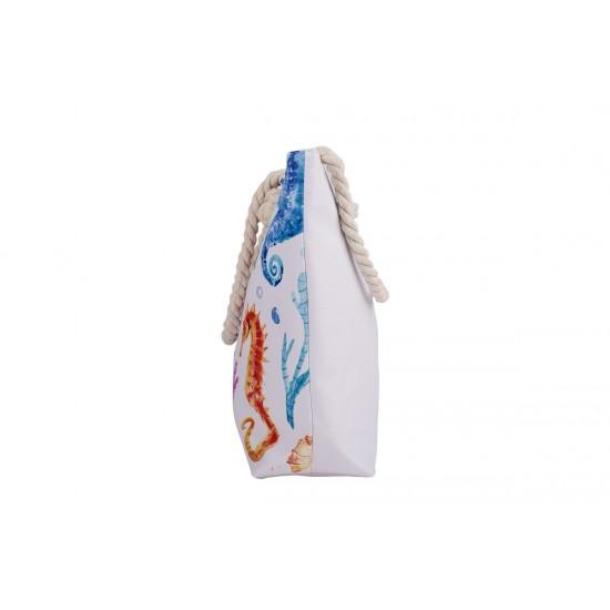 Бяла плажна чанта с цип с морски кончета