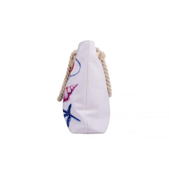 Бяла плажна чанта с цип с морски фар