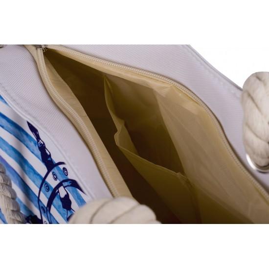 Бяла плажна чанта с цип с рул