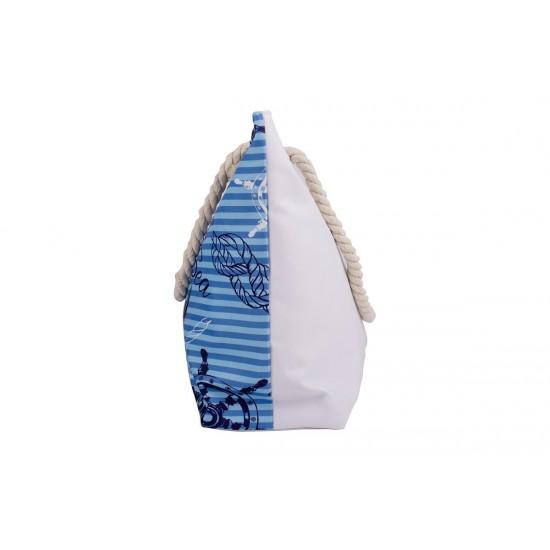 Бяла плажна чанта с цип с котва