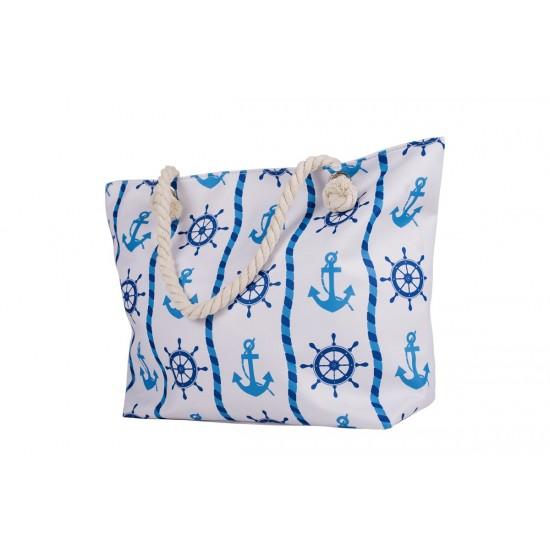 Бяла плажна чанта с цип с котви и въжета