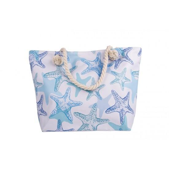 Бяла плажна чанта с цип с морски звезди