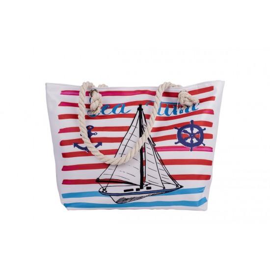 Бяла плажна чанта с цип с платноходка