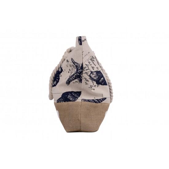 Бяла плажна чанта с цип с надпис България