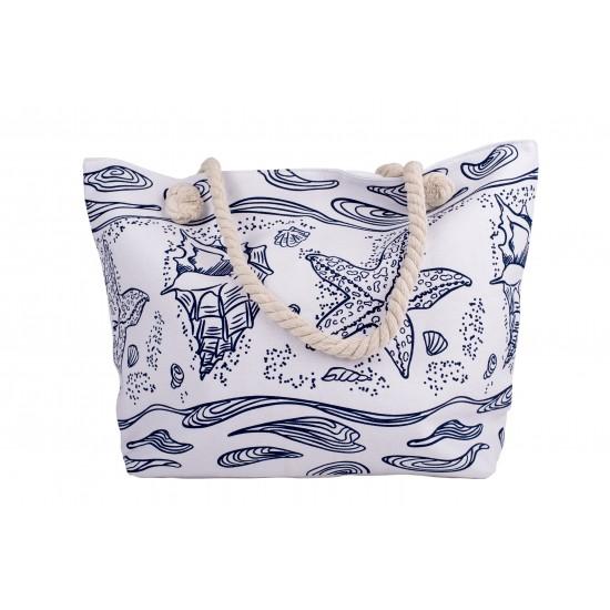 Бяла плажна чанта с цип със сини морски мотиви