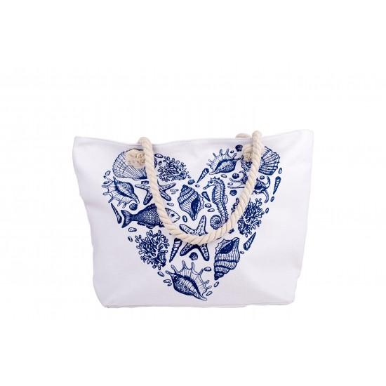 Бяла плажна чанта с цип със сърце от морски елементи