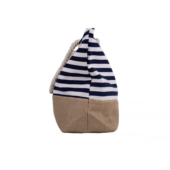Плажна чанта с цип в бяло и синьо райе