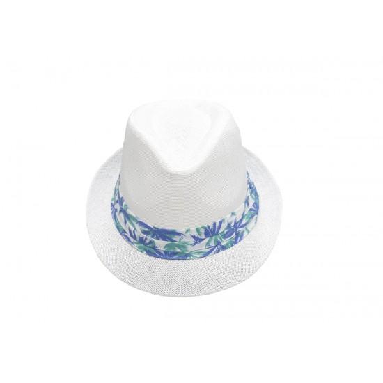 Класическо Лятно бомбе в бяло с лента на палми