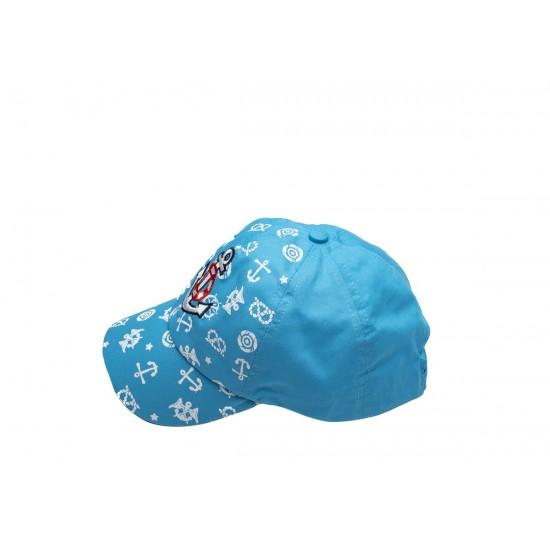 Детска шапка с козирка в светлосиньо с котвичка