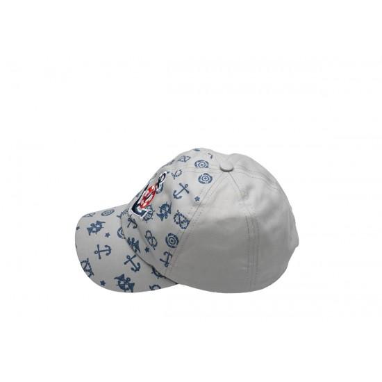 Детска шапка с козирка в сиво с котвичка