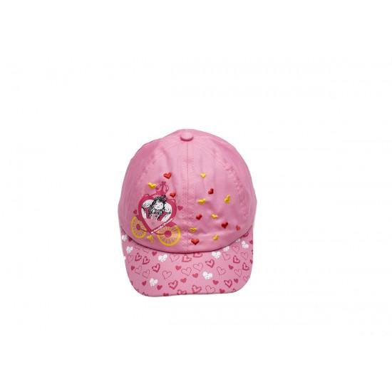 Детска шапка с козирка за момичета в розово