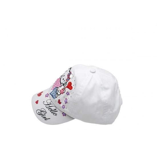 Детска шапка с козирка за момичета в бяло Hello girl
