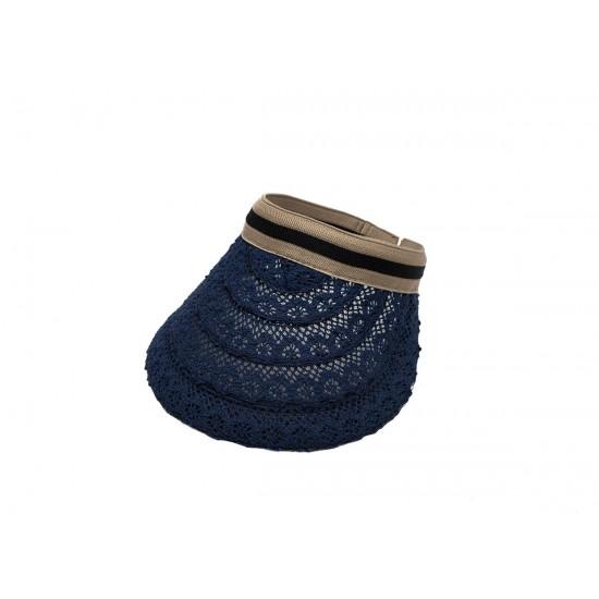 Дамска лятна козирка дантела  в син цвят