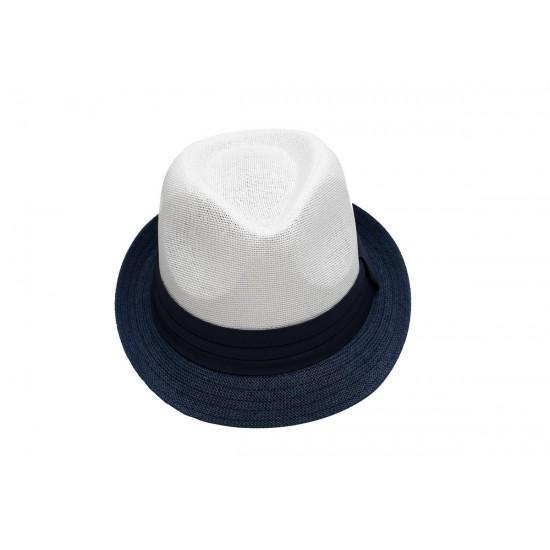 Лятно бомбе в бяло и синя периферия със синя лента