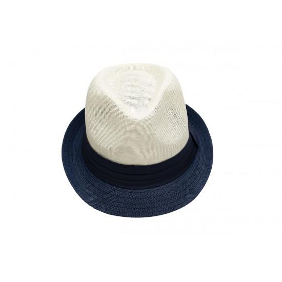 Лятно бомбе в крем и синя периферия със синя лента