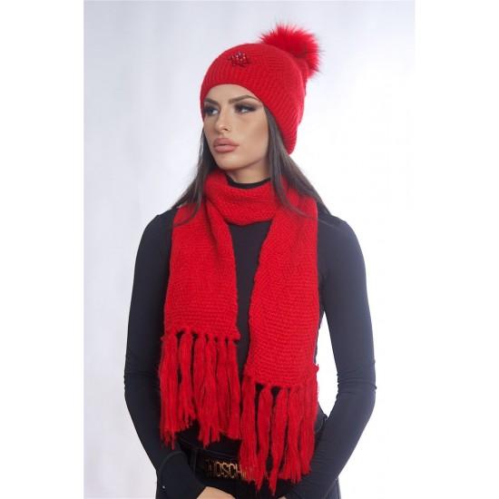 Дамски зимен червен комплект