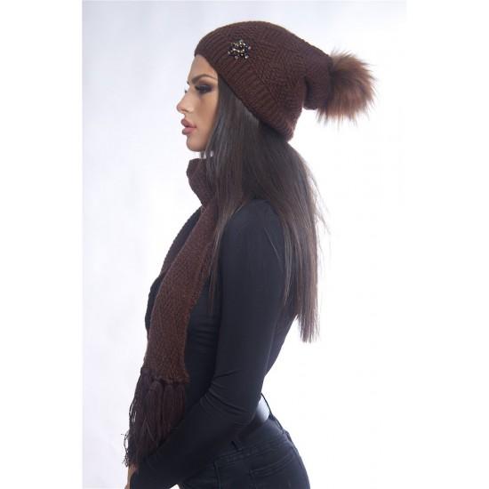 Дамски зимен кафяв комплект