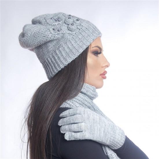 Дамски зимен сив комплект от три части