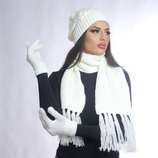 Дамски зимен бял комплект от три части
