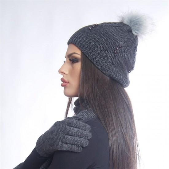 Дамски зимен тъмносив комплект от три части