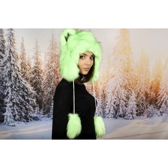 Зелена зимна шапка анимал