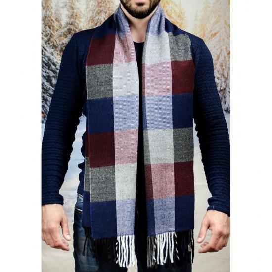 Вълнен мъжки шал в бордо, синьо и сиво