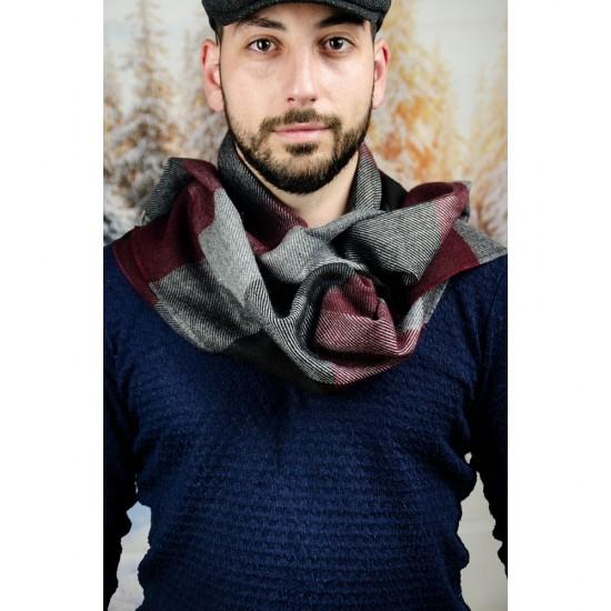 Вълнен мъжки шал в черно, бордо и сиво