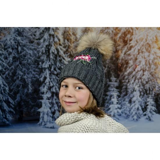 Детска зимна шапка с цвете за момичета в цвят графит