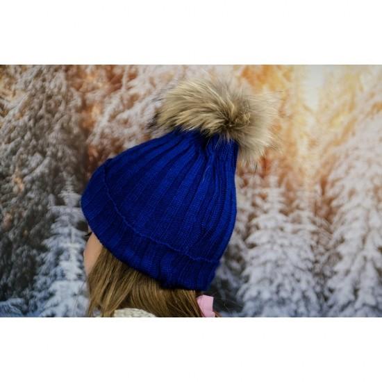 Детска зимна шапка за момичета в синьо