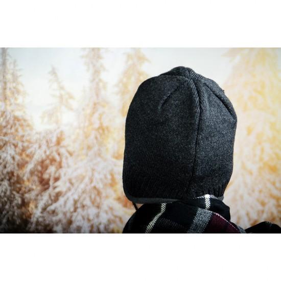 Мъжка зимна шапка с полар в тъмносиво