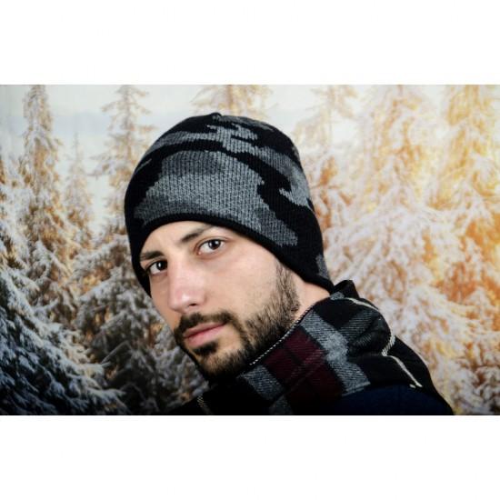 Мъжка зимна шапка сив камуфлаж