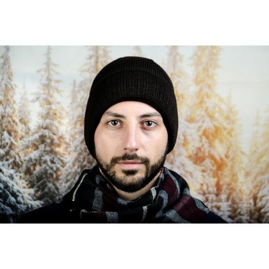 Кафява мъжка зимна шапка
