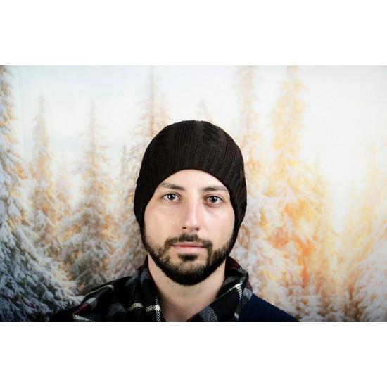 Кафява плетена зимна мъжка шапка