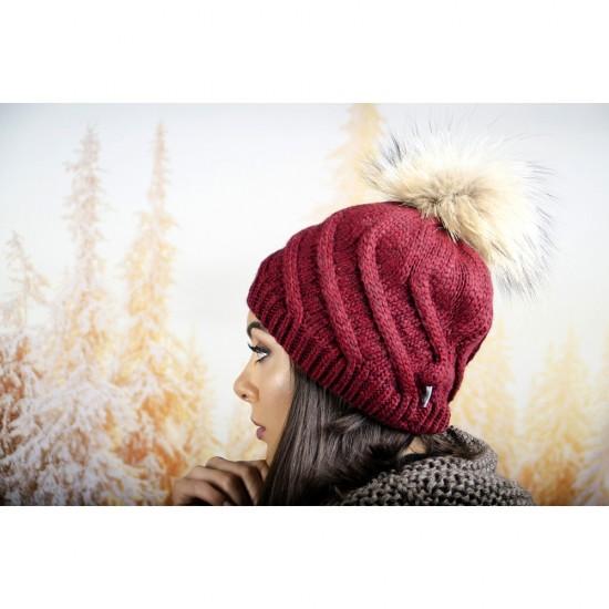 Дамска зимна шапка с понпон естествен пух бордо