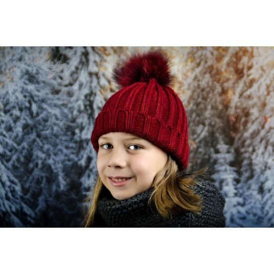 Детска зимна шапка за момичета в бордо