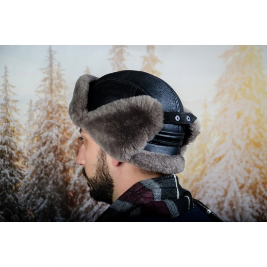 Зимна мъжка шапка от естествена кожа сив косъм
