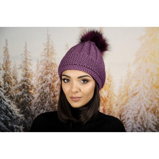 Дамска зимна шапка с еко пух лилава
