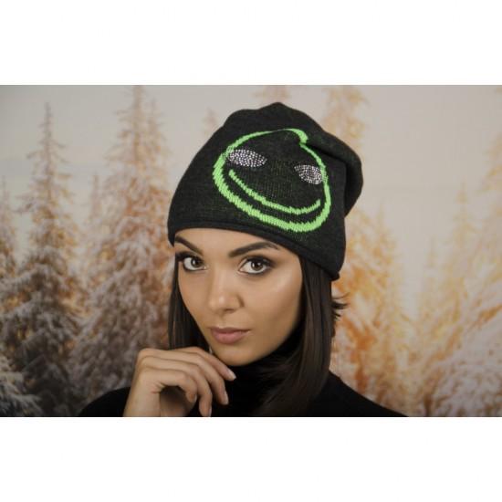 Дамска зимна шапка с емотикон в тъмносиво и зелено