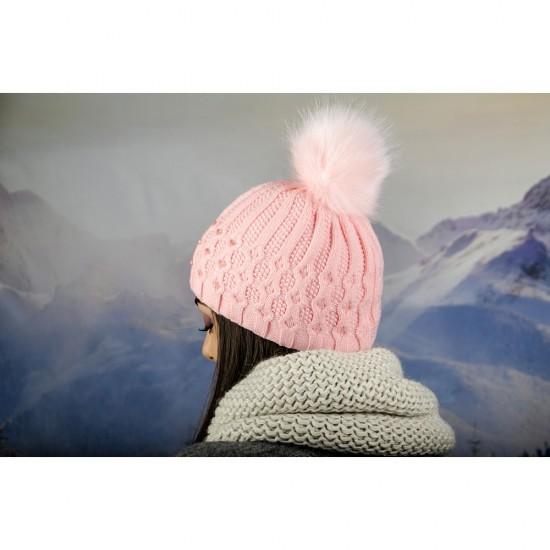 Зимна дамска шапка еко пух и полар розова